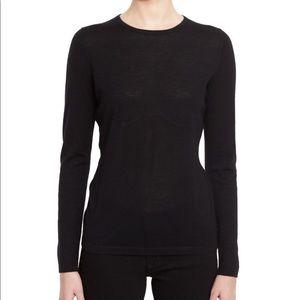 Neiman Marcus Cashmere Black Long Sleeve Tee W381